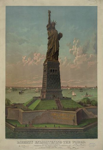Vintage full-color artist rendering of the Statue of Liberty on Liberty Island.
