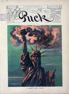 This image from Puck Magazine, September 9, 1908, utilizes the likeness of the Statue of Liberty to convey the horrors African Americans experienced after the Civil War.