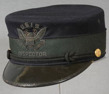 Black U.S. Immigration Service inspector's hat, with bill