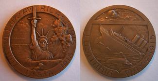 World War I Commemorative coin of the 1915 sinking of the HMS Lusitania, both sides shown