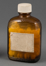 Brown pill bottle for Public Health hospital c. 1950