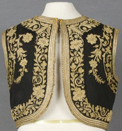 Woman's vest from Macedonia, black with gold flowery trim