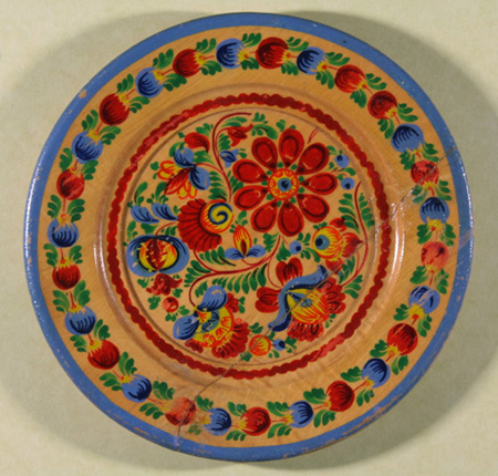 Multi-colored hand-painted wooden plate from Czechoslovakia c. 1923