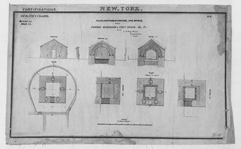 Blueprint of the powder magazine in Fort Wood