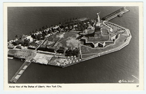 Postcard of Liberty Island and Fort Wood c. 1930s