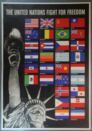 Political poster c. 1942, featuring the flags of U.N. countries