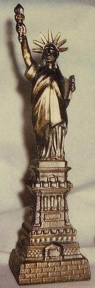 souvenir model of the Statue of Liberty.
