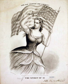 "A picture entitled ""The Spirit of 61. God, Our Country and Liberty!"" by Currier and Ives circa 1861."