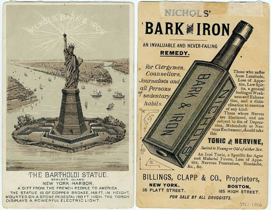 A trade card for Nichols' Bark and Iron Tonic, circa 1880s.