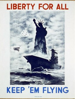 "This early 1940s poster urged Americans to support soldiers overseas in order to protect and preserve ""Liberty for all."""