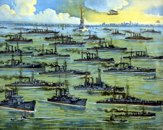 "A poster of numerous U.S. Navy vessels sailing in New York Harbor during World War I entitled ""Uncle Sam's Big Fighting Ships."""
