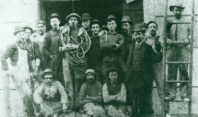 Construction workers who assembled the Statue on Bedloe's Island. Many of these workers were new immigrants.