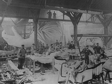 Craftsmen working on the construction of the Statue of Liberty in Paris.