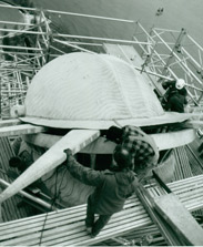 A worker repairing the Statue's crown, December 10, 1985.