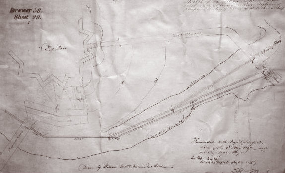A sketch of Bedloe's Island seawall location by the U.S. Engineer Department circa 1847.
