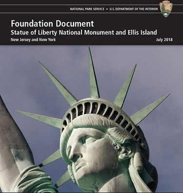 The cover page of the Foundation Document, the photo is of the Statue of Liberty's head and crown.