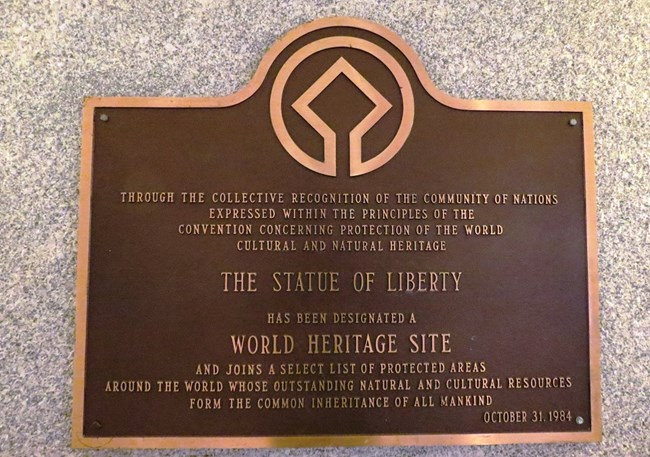 UNESCO World Heritage Site plaque in the lobby of the monument.