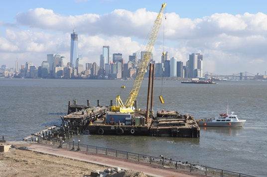 Work to remove damaged Liberty Island Shuttle Dock