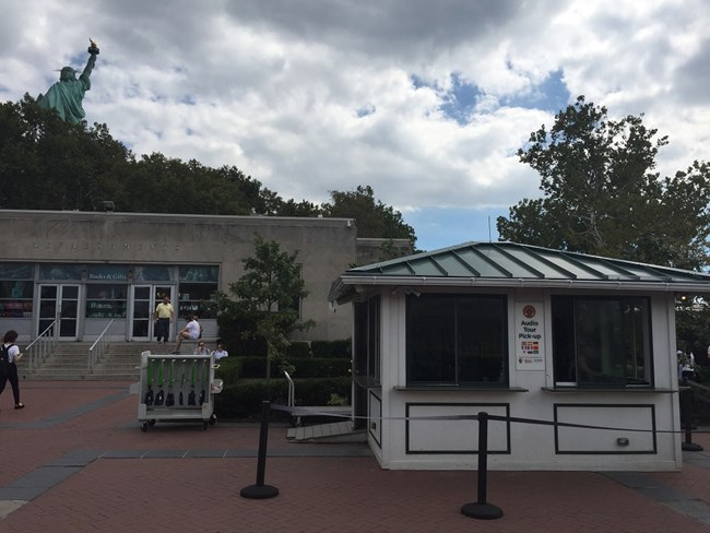 Audio Tour kiosk on Liberty Island
