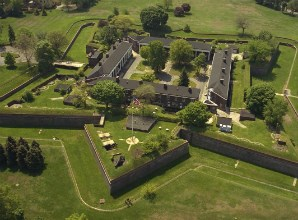 A birds eye view of old forts on Governors Island