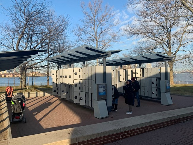 Rows of lockers on Liberty Island