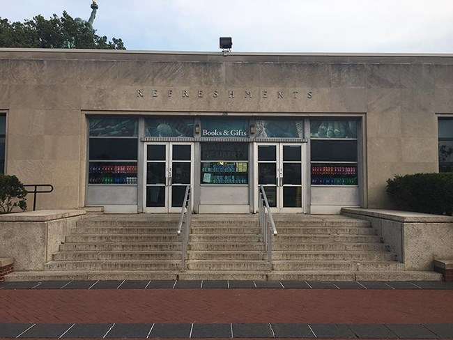 A view of the front of the refreshment building.