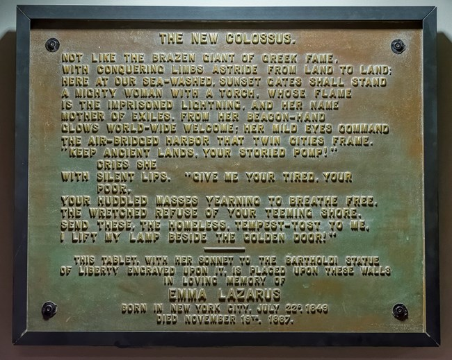 The New Colossus by Emma Lazarus plaque in the museum
