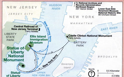 Ferry System Map - Statue Of Liberty National Monument (U S