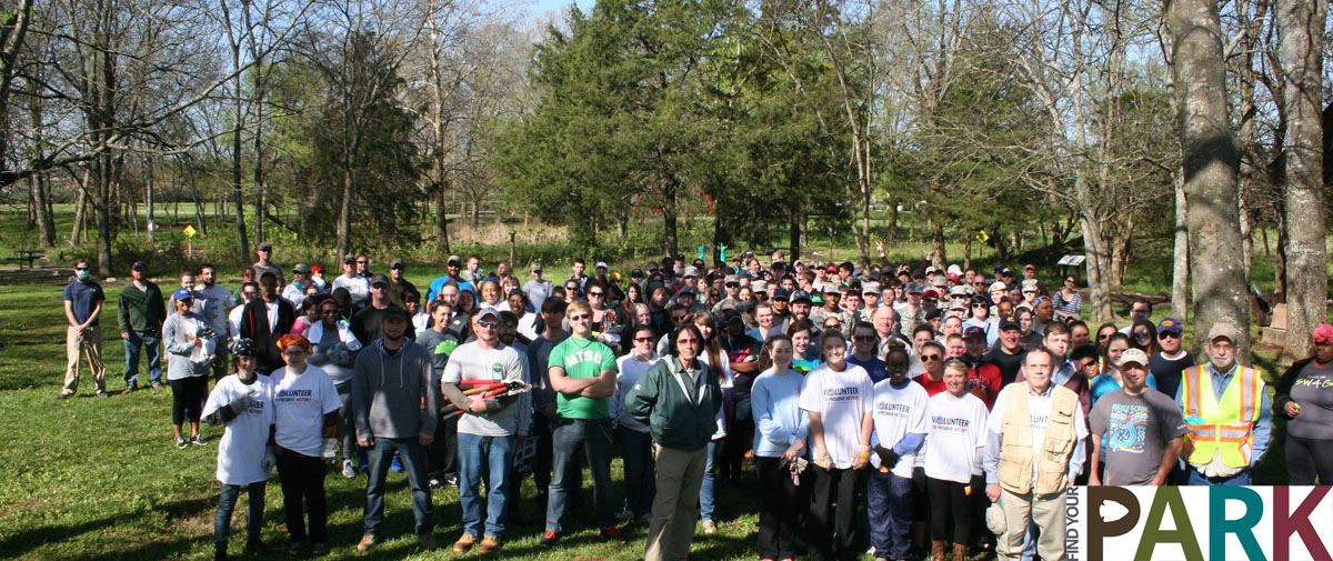 Volunteers pose for a photo in Murfreesboro's Old Fort Park.
