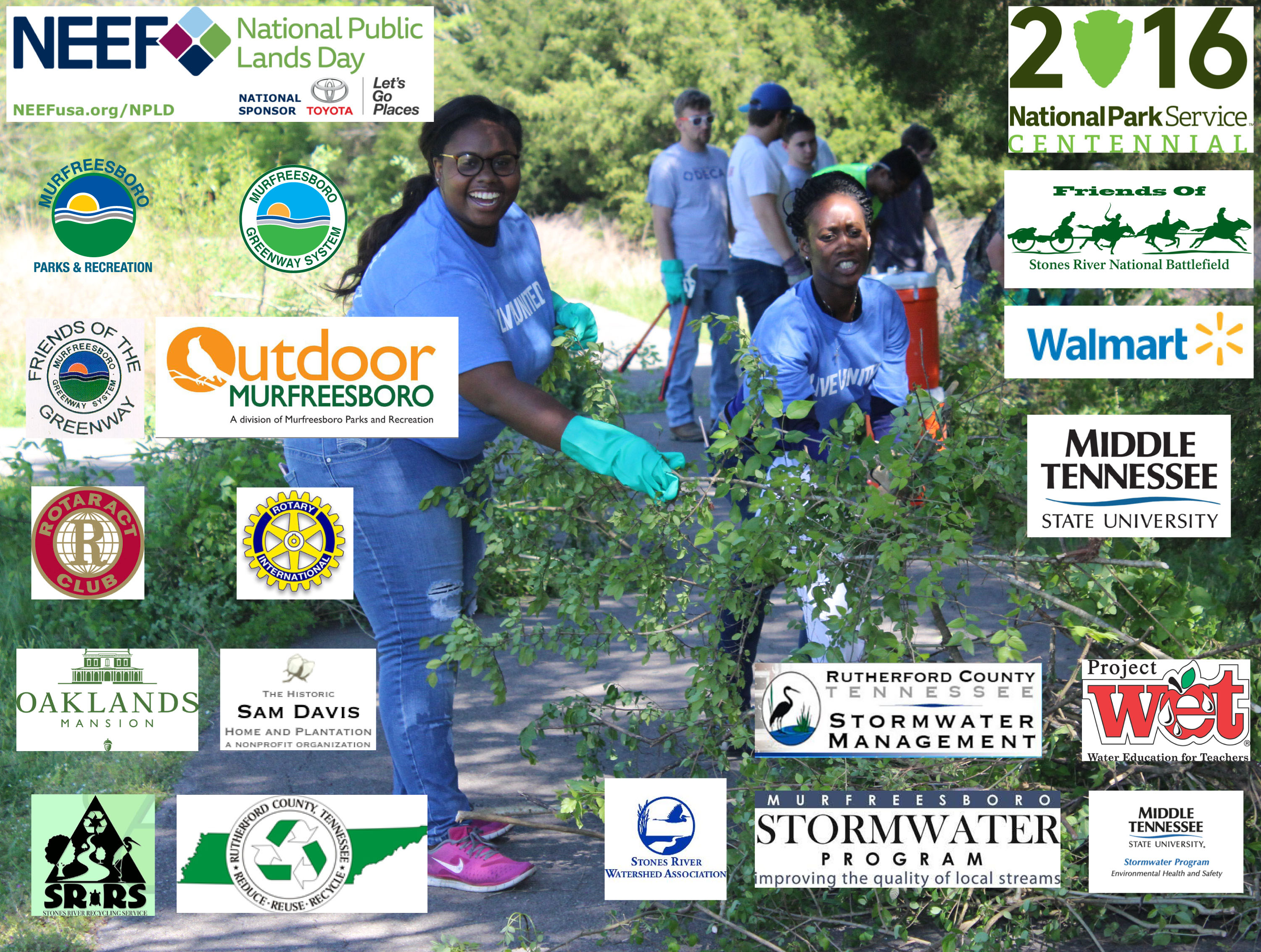 Two volunteers pause to smile while clearing brush. Photo includes logos of National Public Lands Day partners.