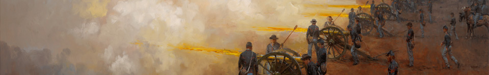 Painting of Union cannons firing