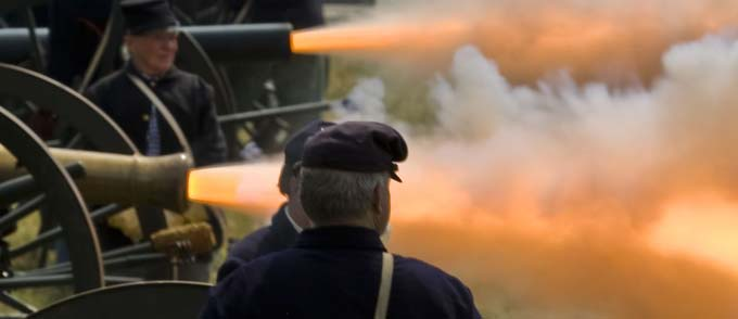 Fire emerging from cannons