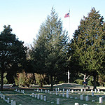 Flag flying in Stones River National Cemetery