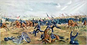 Union troops retreating
