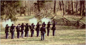 Union soldiers firing