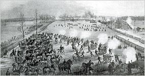 An 1863 picture showing the fighting along the Nashville Pike and the railroad.