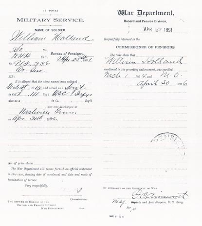 Civil War pension record for William Holland