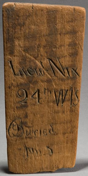 Wood grave marker for Christian Nix