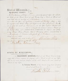 Citizenship document signed by Christian Nix