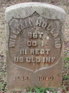 National cemetery headstone of William Holland 1834-1909