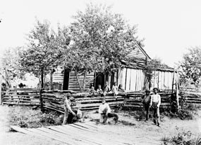 African Americans stand in front of their cabin in this 1890's photo.