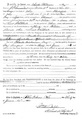 Enlistment document for Charles Nickerson