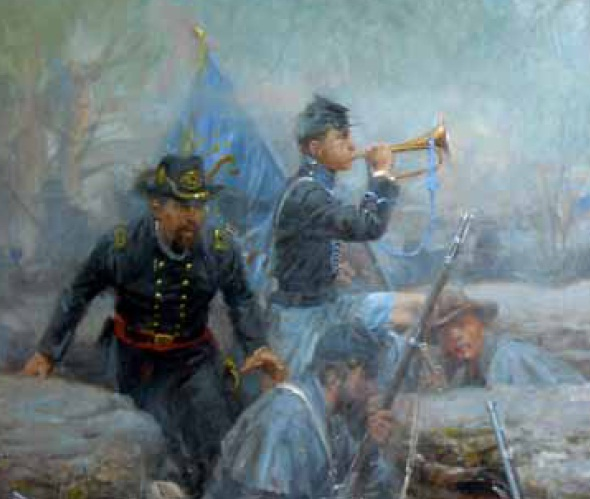 Painting of Union soldiers in rocks
