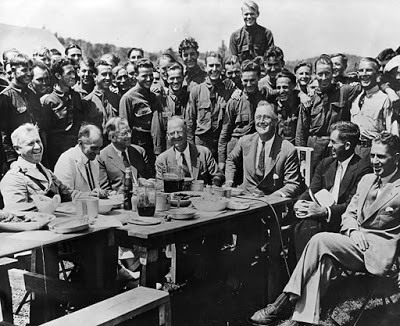 President Franklin Delano Roosevelt visits a CCC camp in 1933.