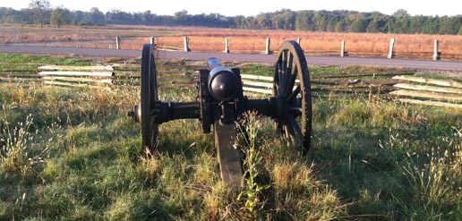 A cannon points across a road toward a field with woods in the background.