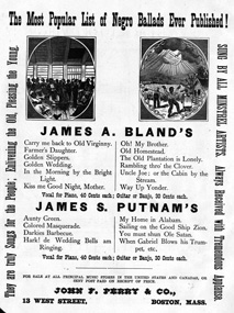 1870's flyer publicizes African American music performed by black artists.