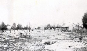 1934 Photo of African American church and home in the Cemetery Community