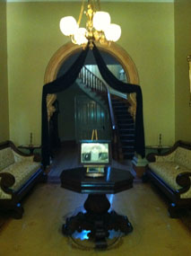 The interior of Oaklands Mansion decorated for mourning.