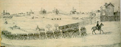 Drawing of Union soldiers marching into Murfreesboro, Tennessee.