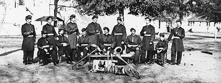 Historic photo of a Civil War military band.